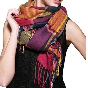 "Accessories - Colorful Fringe-trim Lattice Shawl/Wrap 79"" by 23"""